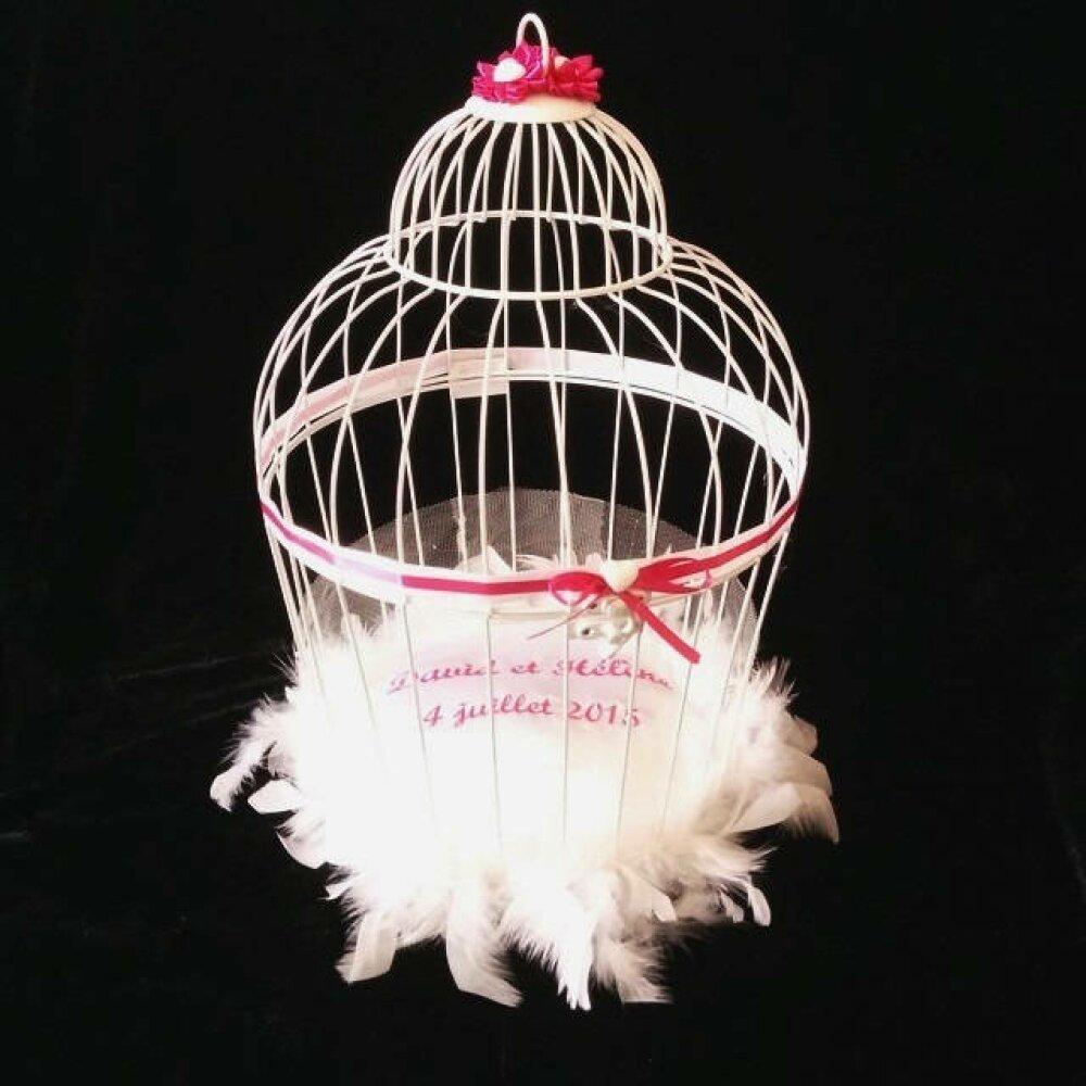 Tirelire : la cage des mariés avec colombes ou autre déco