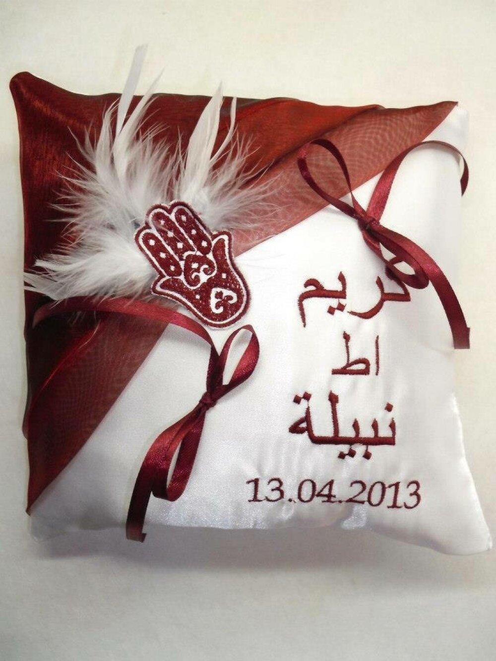 coussin porte-alliances avec prénoms ecrits en arabe (toutes couleurs et déco possible)