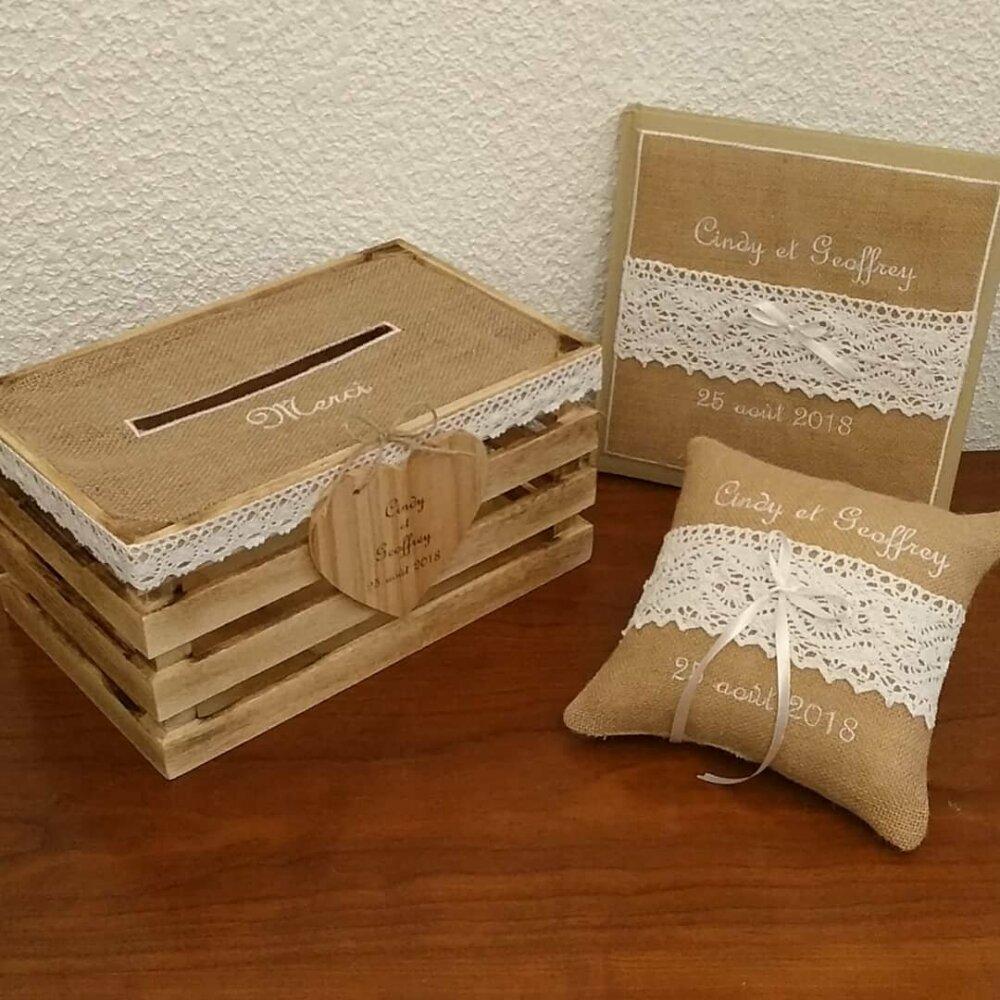 Cagette livre d'or et coussin porte alliances mariage en toile de jute vintage dentelle coton