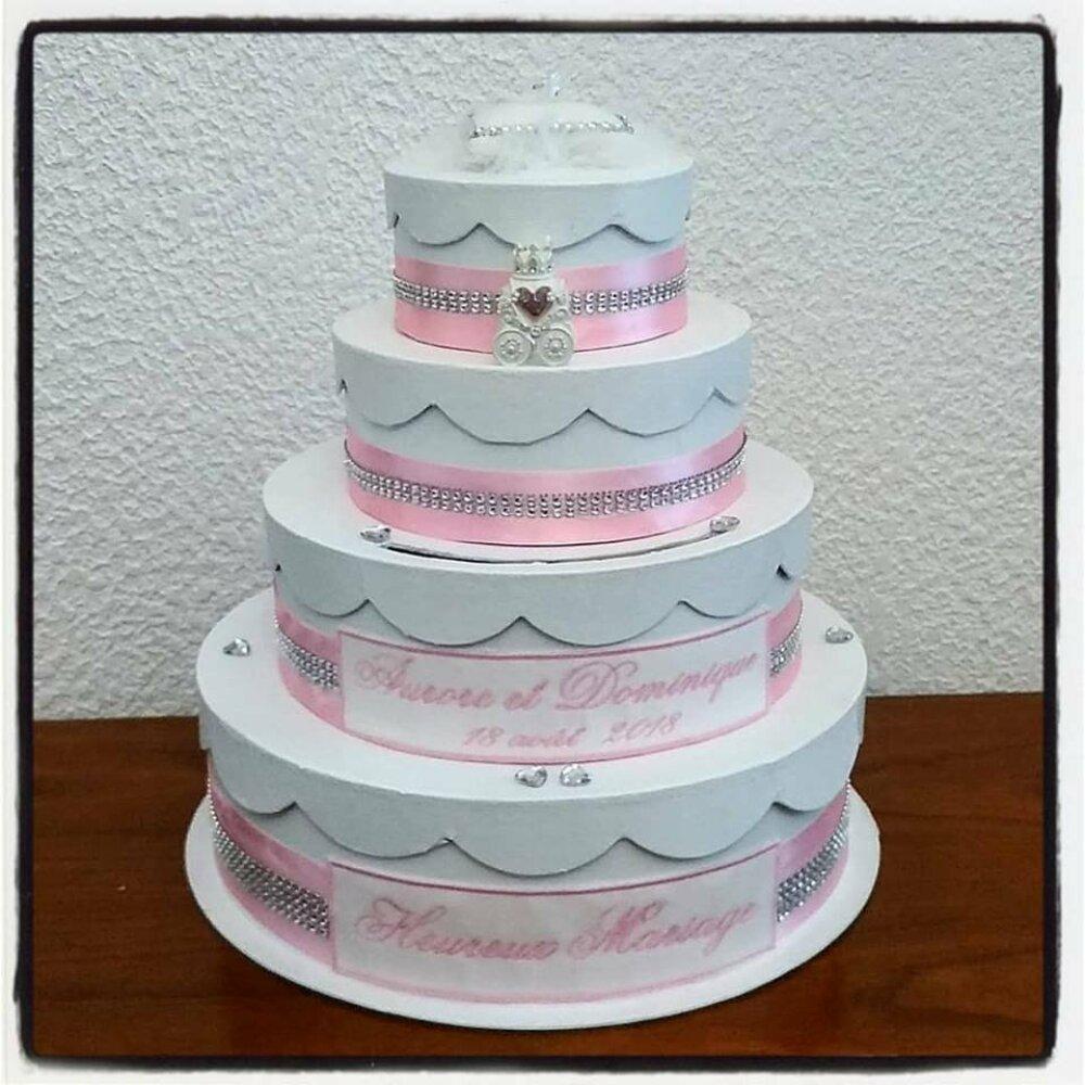 Urne tirelire mariage wedding cake gateaux pour enveloppes dons