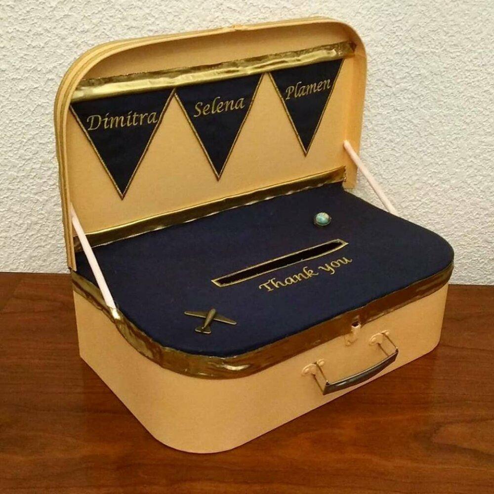 Valise boite à enveloppes, tirelire pour mariage vintage en toile de jute (ou autre) pour anniversaire, retraite, communion, urne mariage