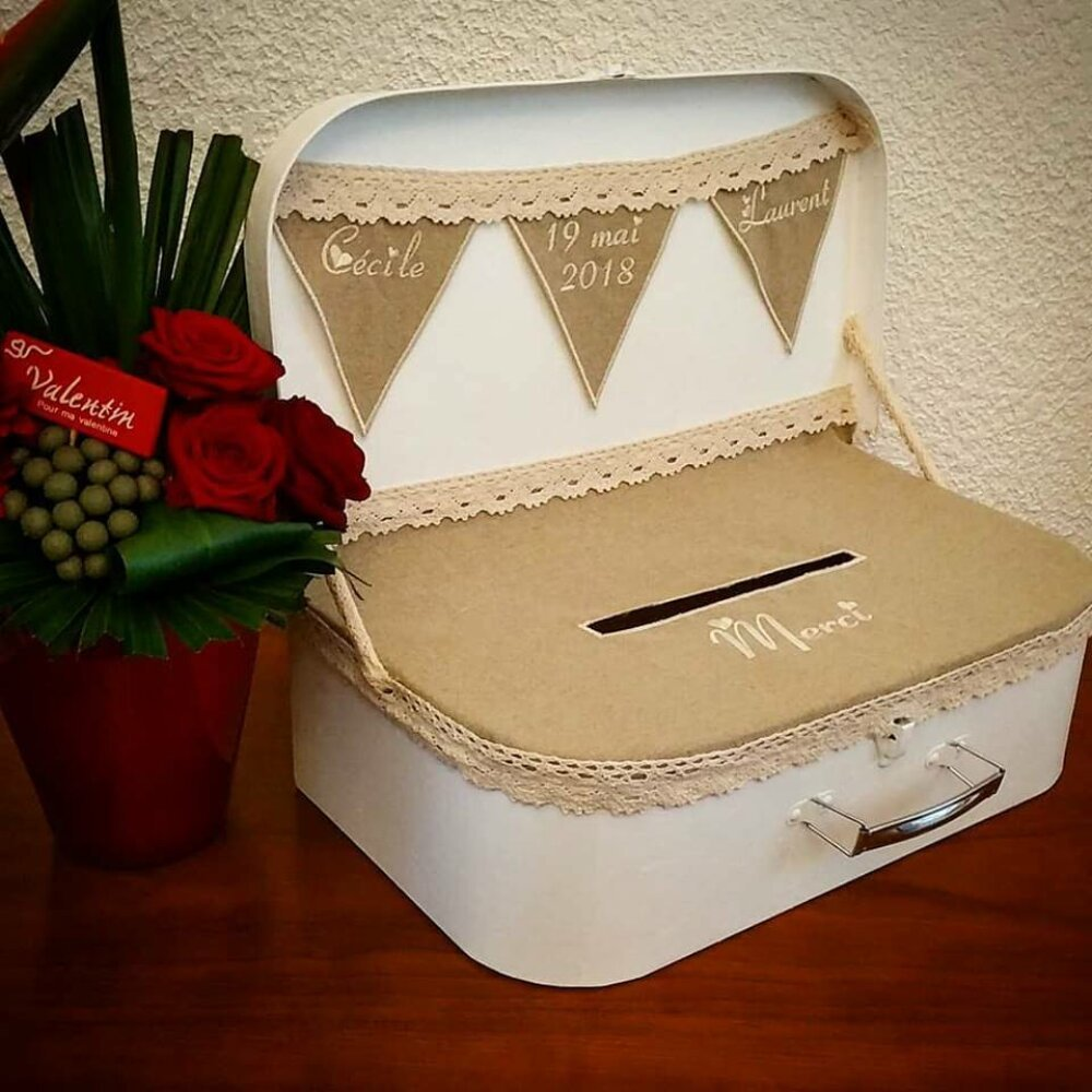 Valise tirelire, cagnotte, urne, boite à enveloppes pour mariage champêtre (ou autre) / pour toute occasion : anniversaire retraite, baptème