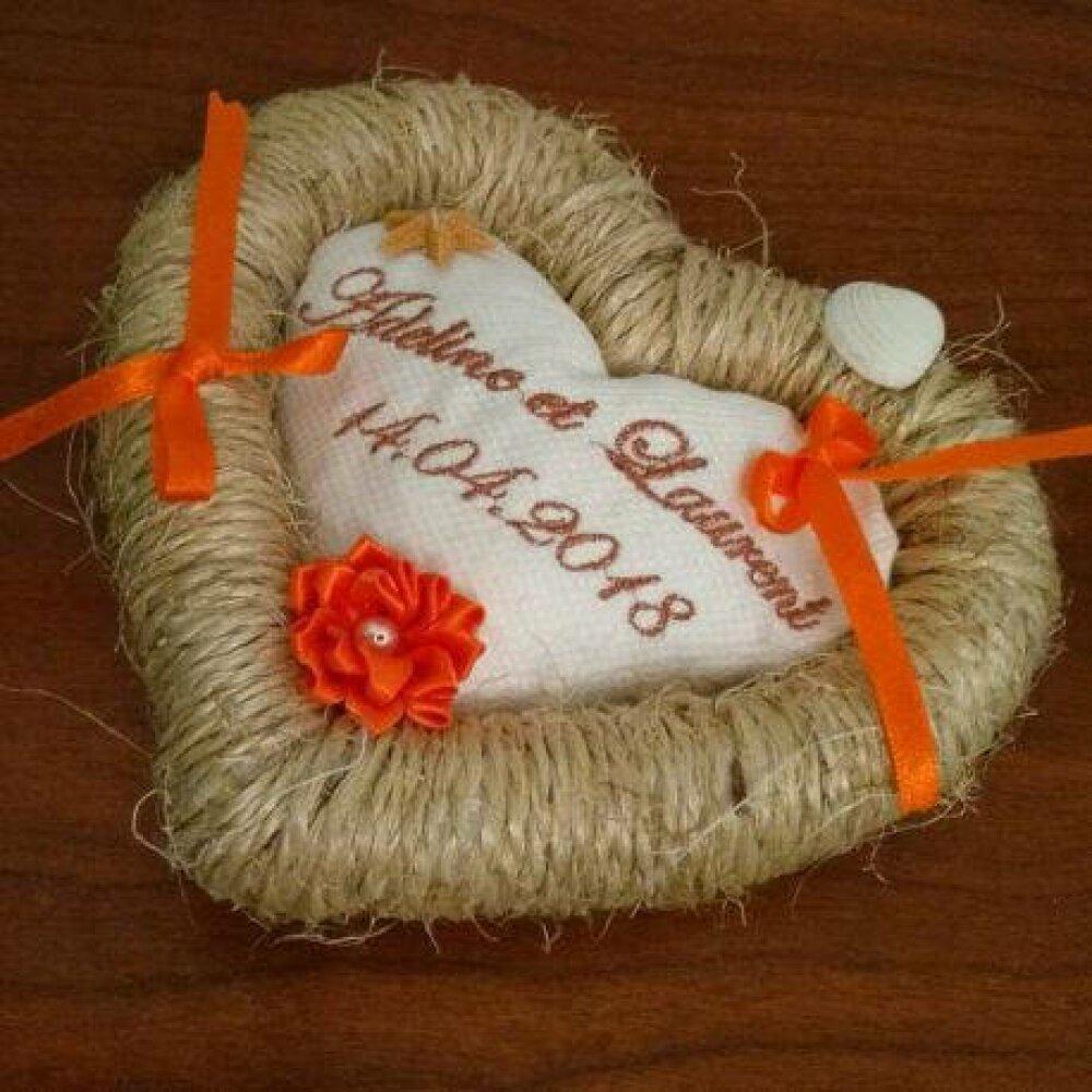 Coussin pour alliances personnalisé / porte-alliances / coussin de mariage : le jonc de mer (toutes couleurs possibles)