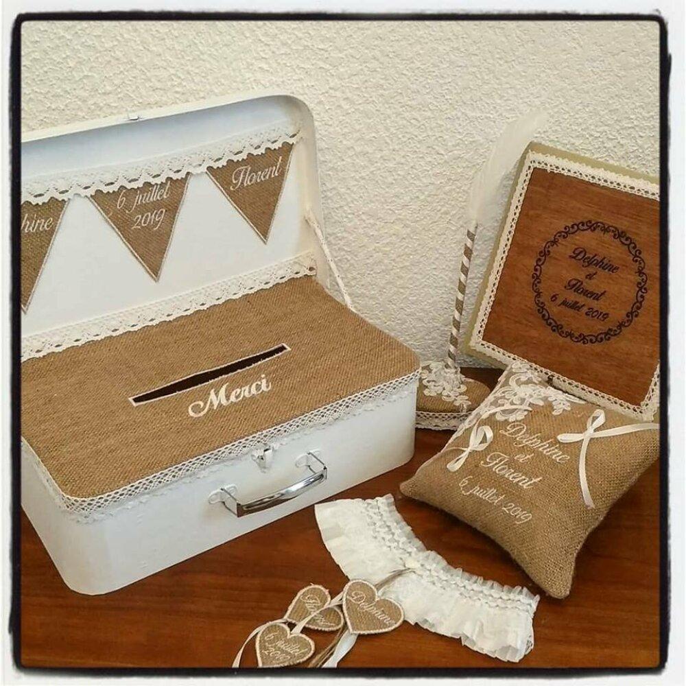 Livre d'or en bois, tirelire urne valise, coussin toile jute, stylo et jarretière pour mariage vintage champetre