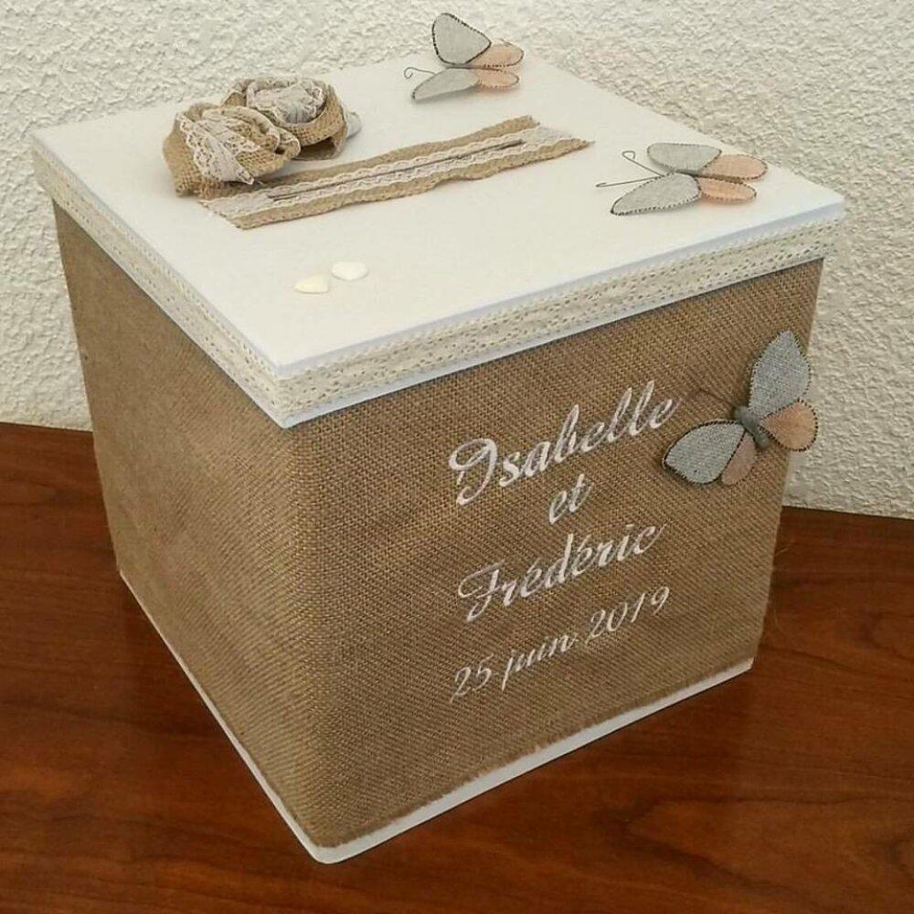 Tirelire / urne / cagnotte pour mariage : le cube en toile de jute / mariage champêtre / mariage nature