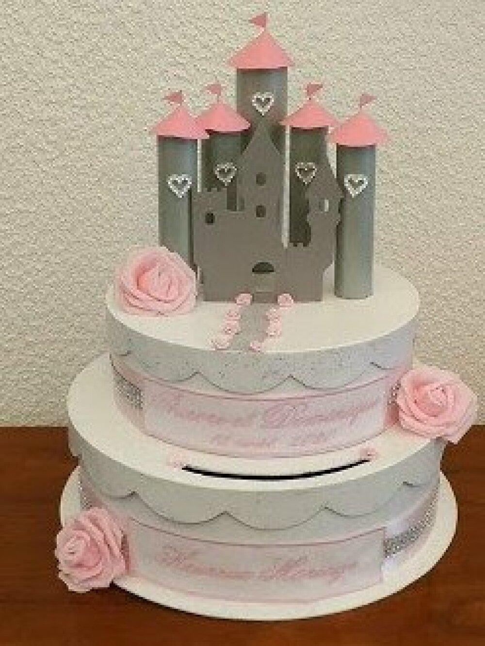 urne mariage tirelire chateau princesse wedding cake