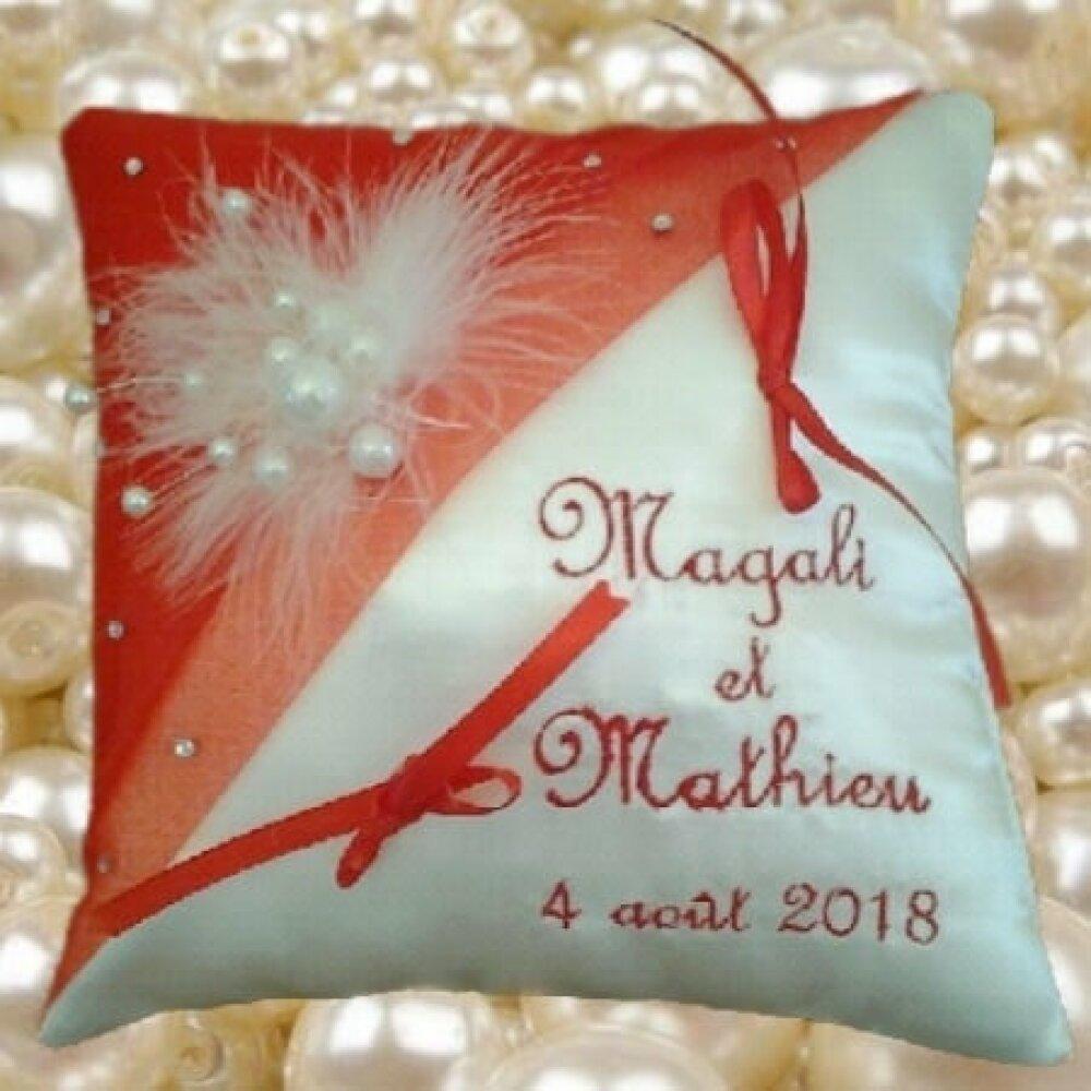 coussin de mariage / porte-alliances : perles et strass (toutes couleurs)