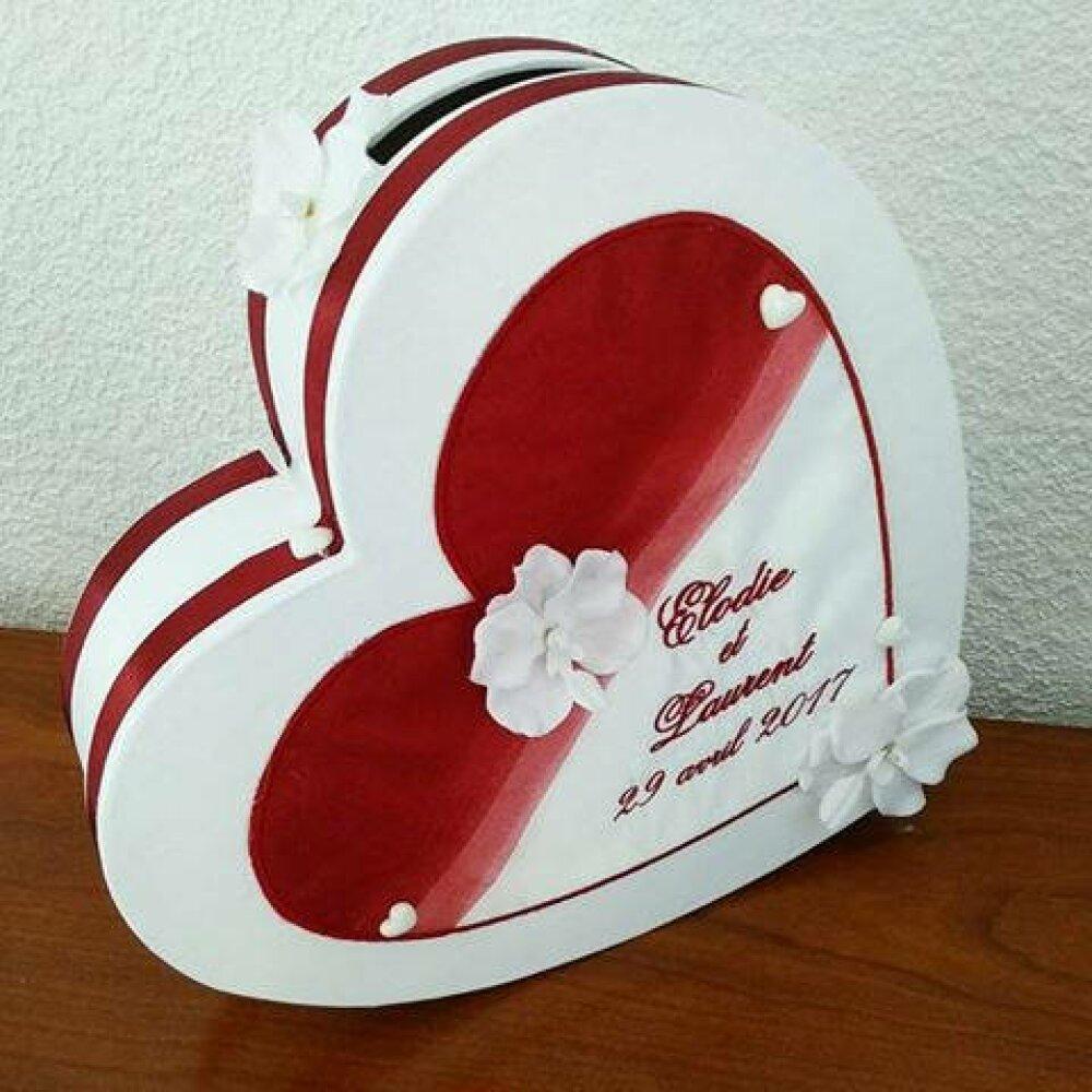 Tirelire cagnotte  urne forme coeur bordeau blanc mariage bapteme communion retraite anniversaire