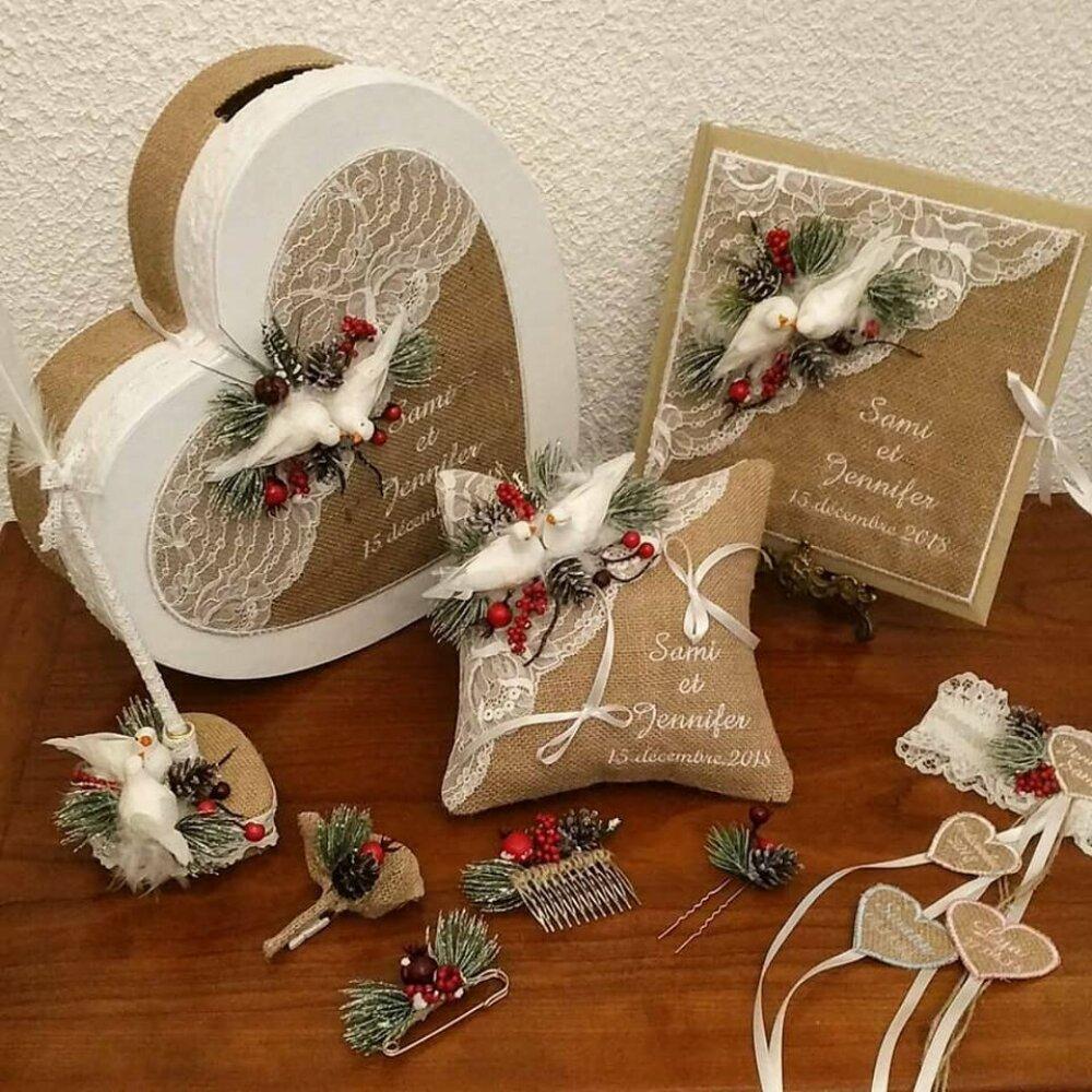 ensemble de mariage thème nature d'hiver mariage toile jute colombes coussin urne livre d'or stylo et jarretière