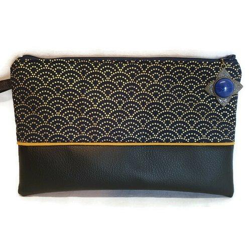 Trousse plate, pochette tissus japonnais éventail bleu marine et doré, tissus et simili cuir, idée cadeau, trousse école, de toilette