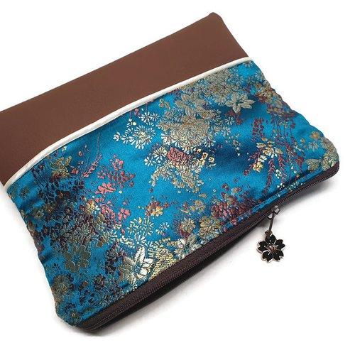 Trousse plate, pochette tissus japonais effet soir marron et bleu, simili cuir, idée cadeau, trousse école, de toilette