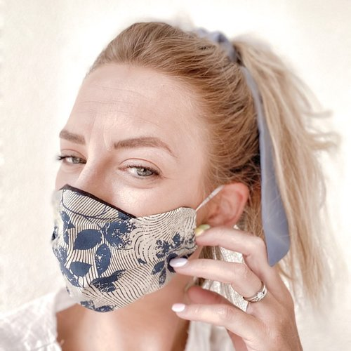 Masque mixte tissu imprimé, doublé fait main, modèle : vintage