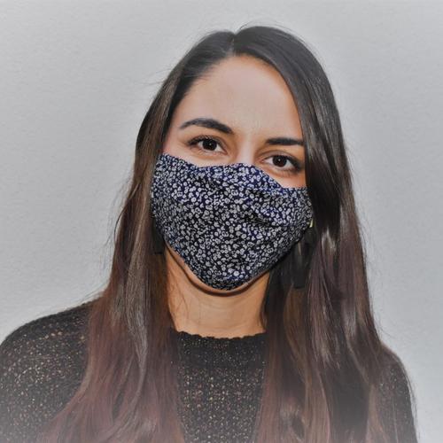 Masque mixte fleuri tissu coton doublé fait main selon norme afnor, modèle : floralie
