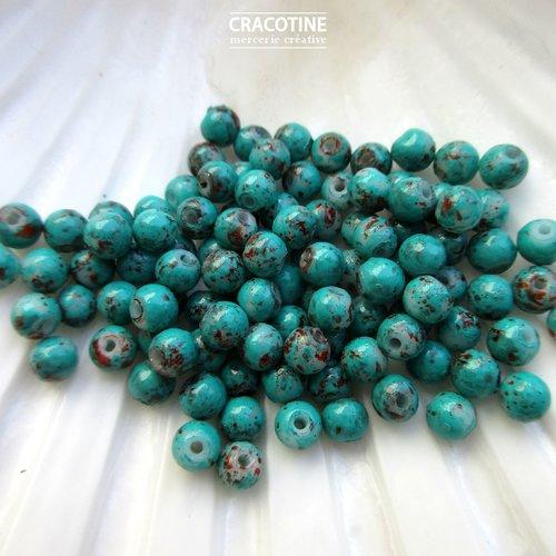 100 petites perles de verre couleur dégradé de vert bleu