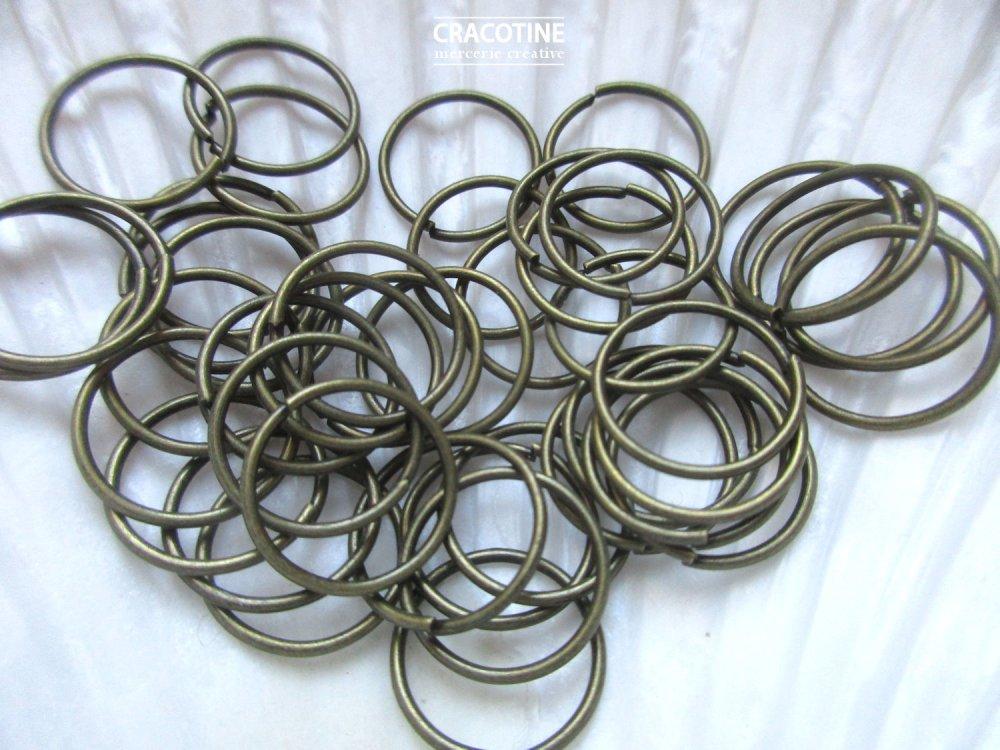 100 anneaux ouverts métal bronze 14 mm