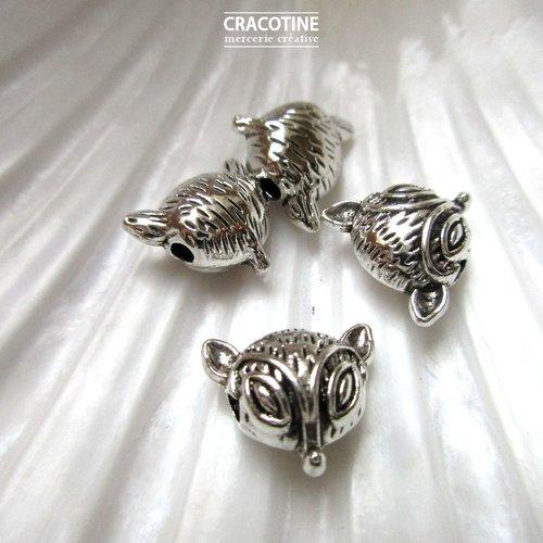 4 perles connecteurs métal argenté 12 mm x 13 mm