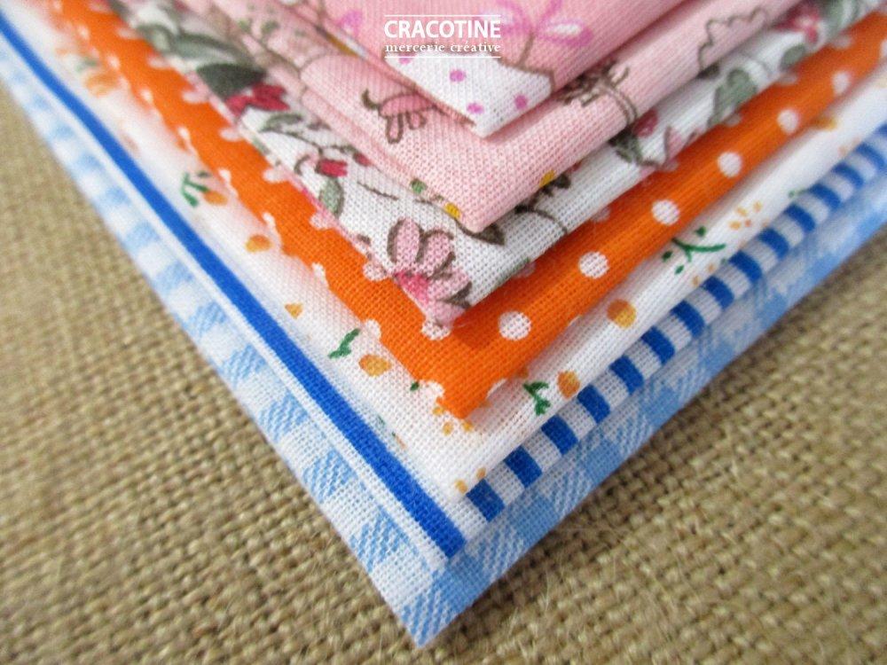 7 coupons tissus patchwork 20 cm X 25 cm