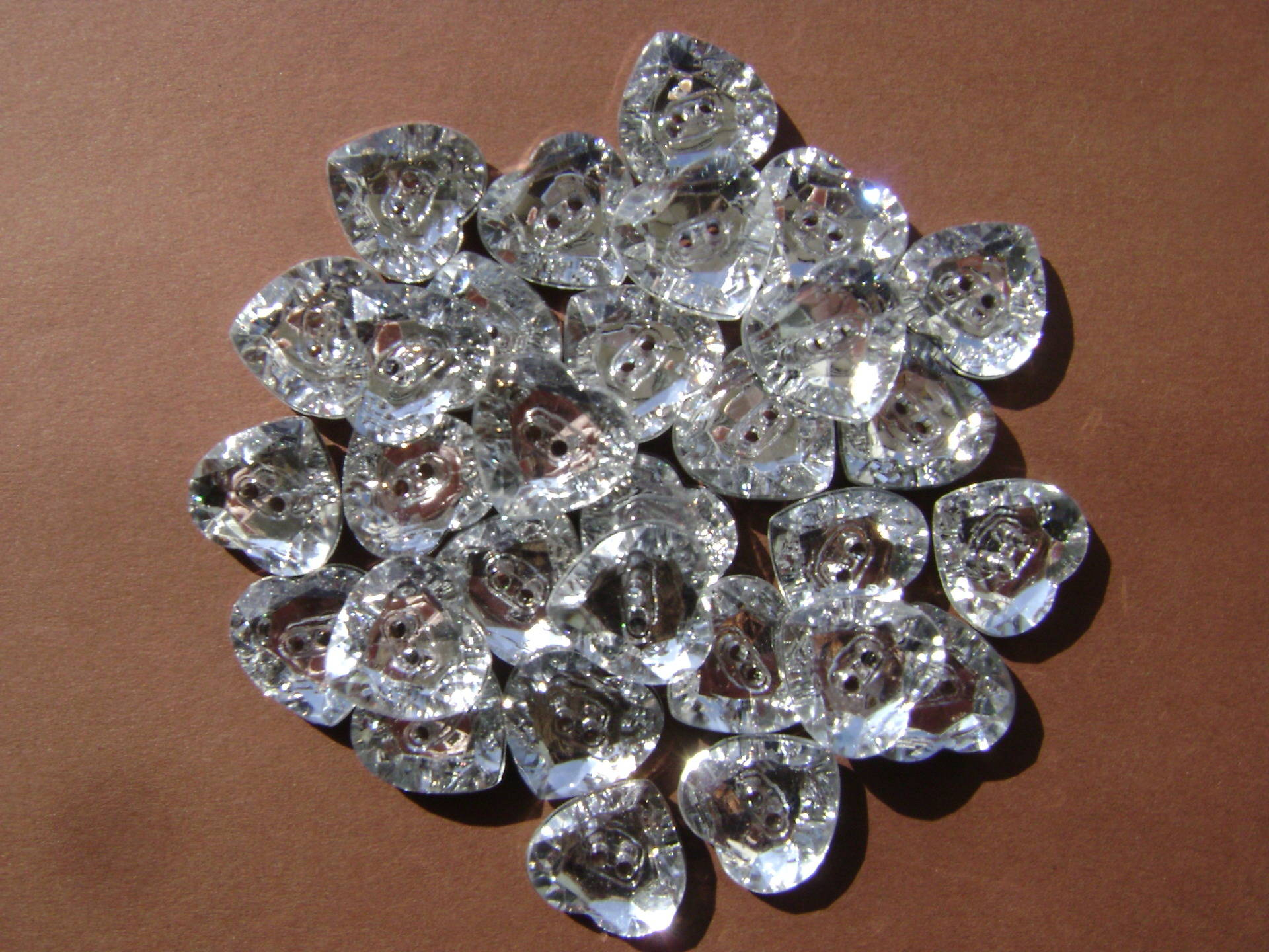 Boutons strass coeur