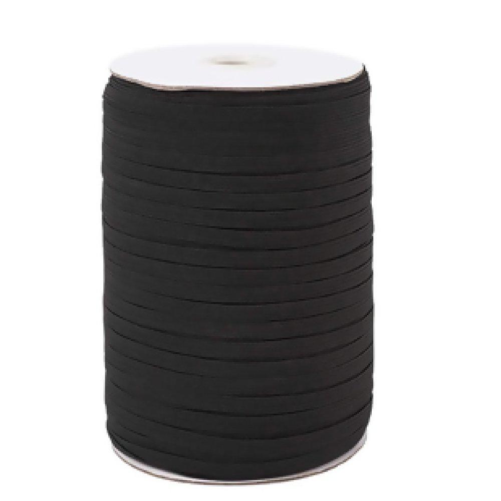 Elastique plat noir 5mmx5mètres