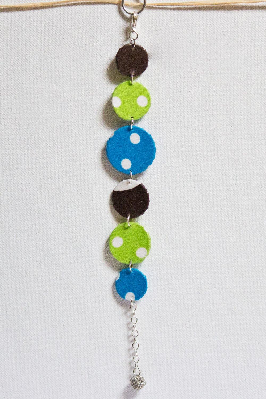 Bracelet ronds de tissus bleu vert marron à pois