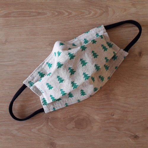 Masque de protection en tissu noël oeko-tex pour enfant avec barrette nasale. norme afnor.