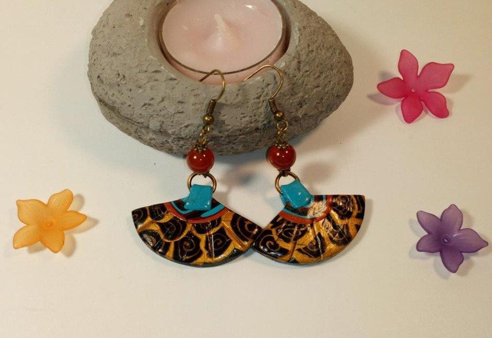Boucles d'oreilles pendantes en métal bronze et éventail style japonais en fimo