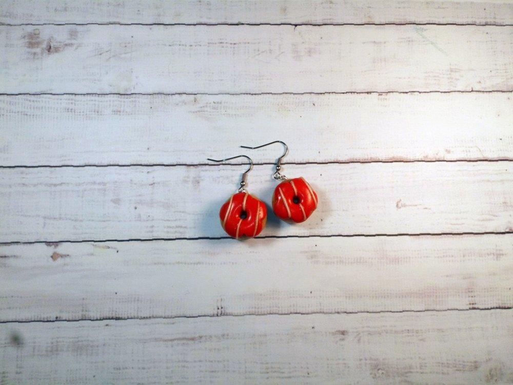 Boucles d'oreilles pendantes gourmandes donuts en fimo