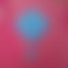 Châle crocheté en coton bleu