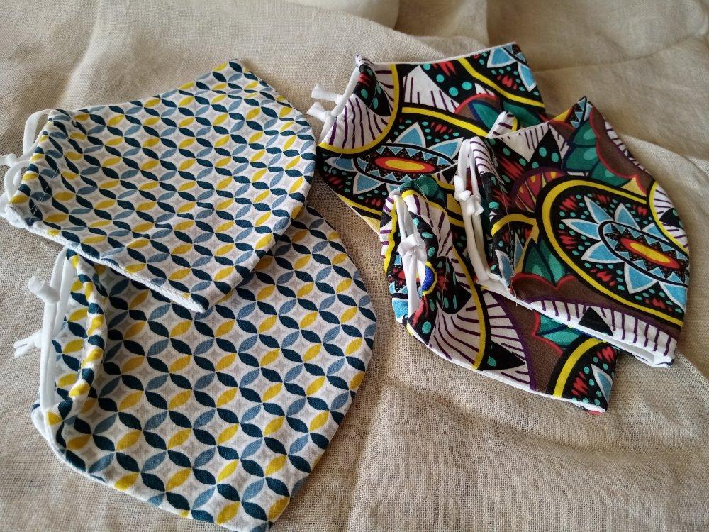 Masques en tissus de coton multicolore, lavables pour hommes