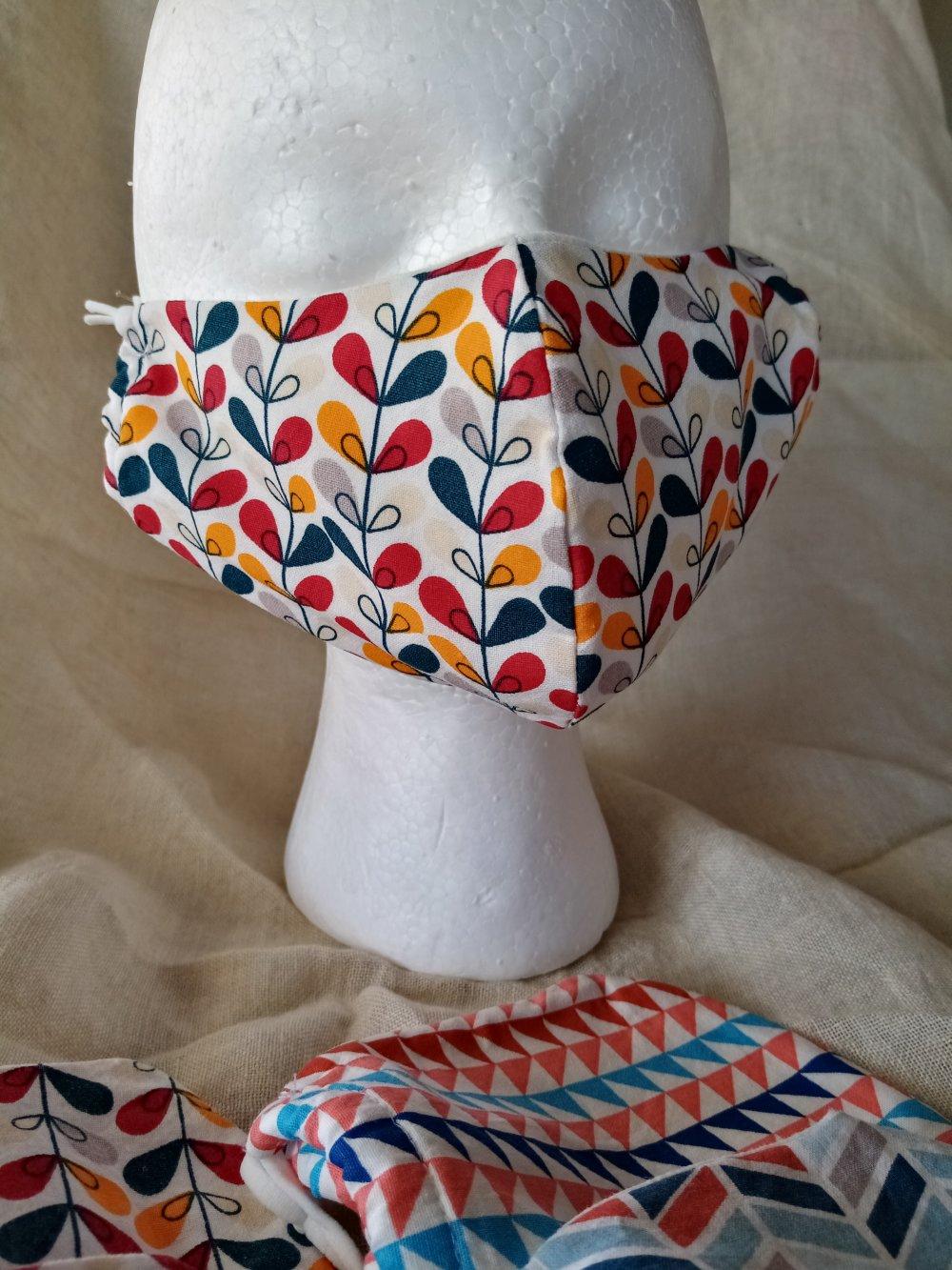 Masques de protection en tissus originaux de coton doublés