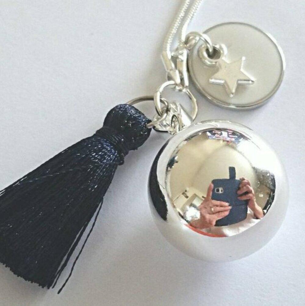 Bola de grossesse argent plaqué, boule musicale blanche, médaillon rond émaillé blanc, étoile argentée