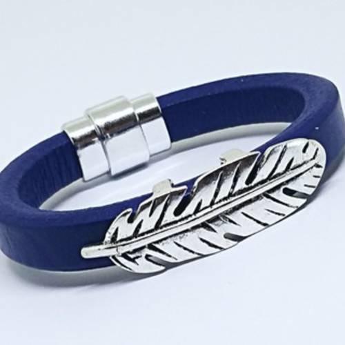 bracelet cuir femme bleui magnetique