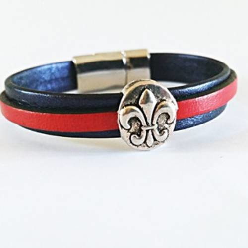 bracelet cuir fleur