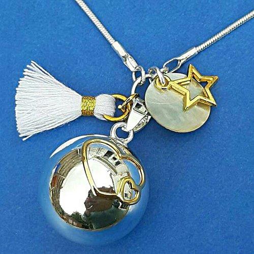 Bola de grossesse plaqué argent et or, 2 coeurs or 22 carats, sequin en nacre blanche, étoile dorée, pompon blanc et or