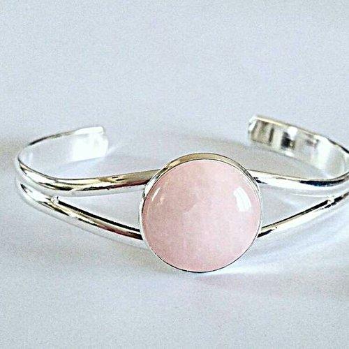 Bracelet jonc argent avec cabochon rond en quartz rose - pierre naturelle - bracelet réglable