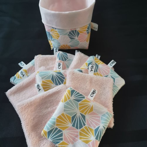 Lingettes lavables + panier réversible