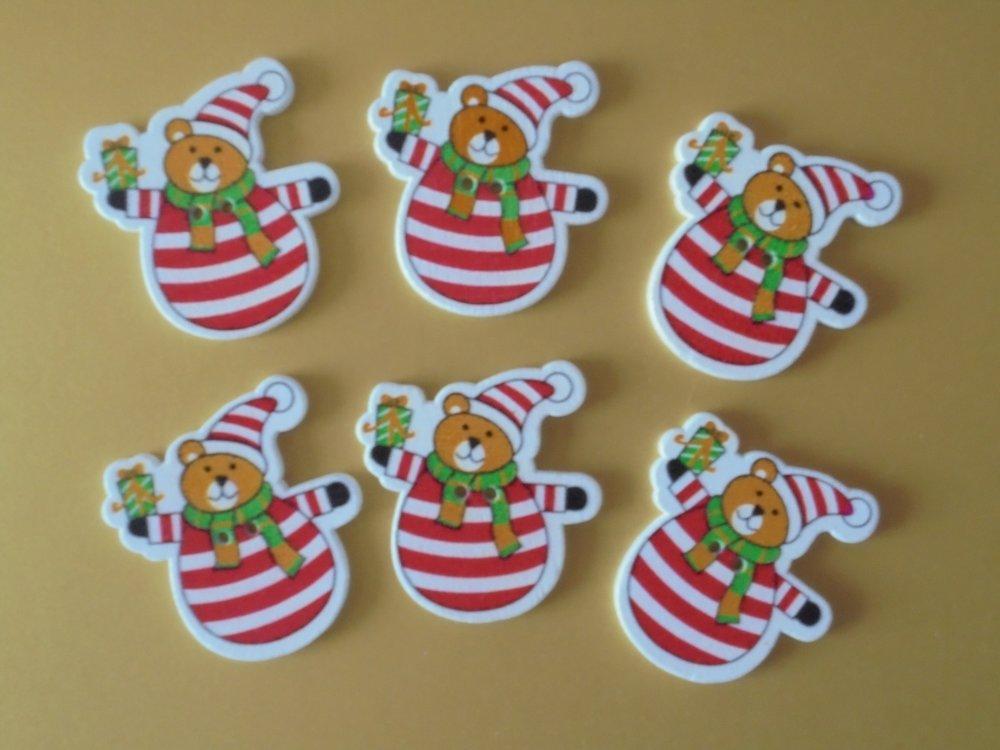 6 Boutons * Ourson de Noël * en bois peint