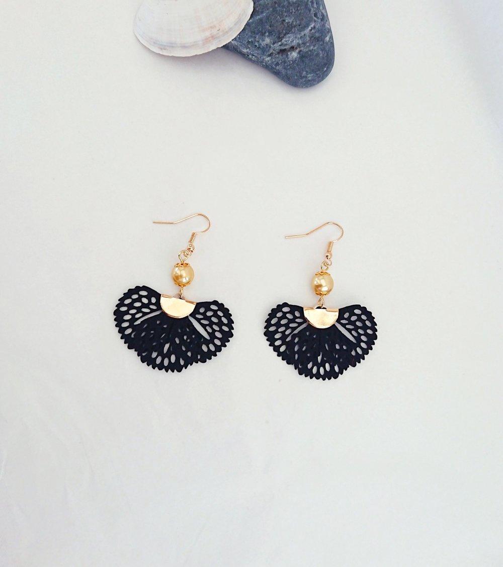 Boucles d'oreilles pendantes, pompons éventail, noir