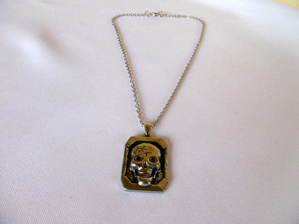 Collier homme moderne, pendentif tête de mort, yeux en strass, chaîne, tout en acier inoxydable, bijou homme.