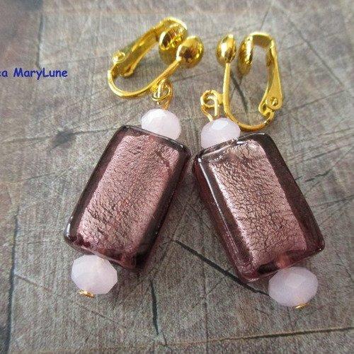 Boucles d'oreilles clips pour oreilles non percées rectangle rose fumée