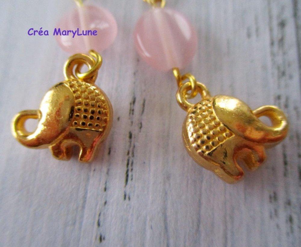 Boucles d'oreilles à crochets en ACIER CHIRURGICAL éléphant doré - 1818036