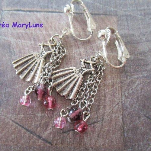 Boucles d'oreilles clips pour oreilles non percées robe rose - 1846580