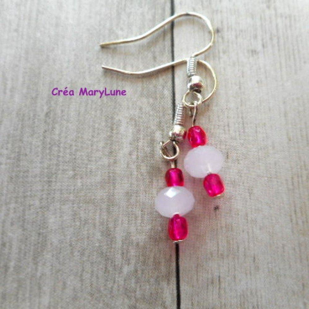 Boucles d'oreilles à crochets en ACIER CHIRURGICAL rose et fuchsia - 1957218
