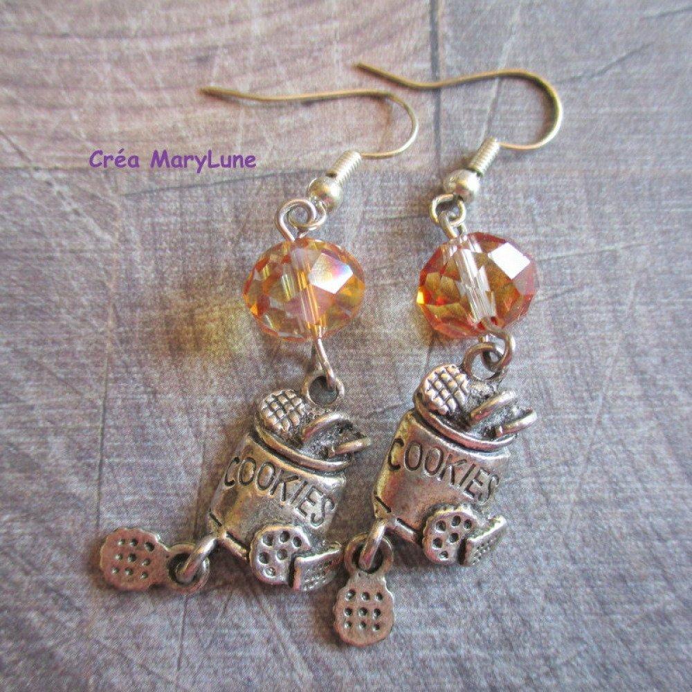 Boucles d'oreilles à crochets en ACIER CHIRURGICAL cookies champagne - 1993067
