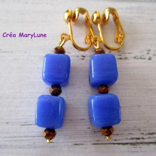 Boucles d'oreilles clips pour oreilles non percées cubes bleus -  2166283