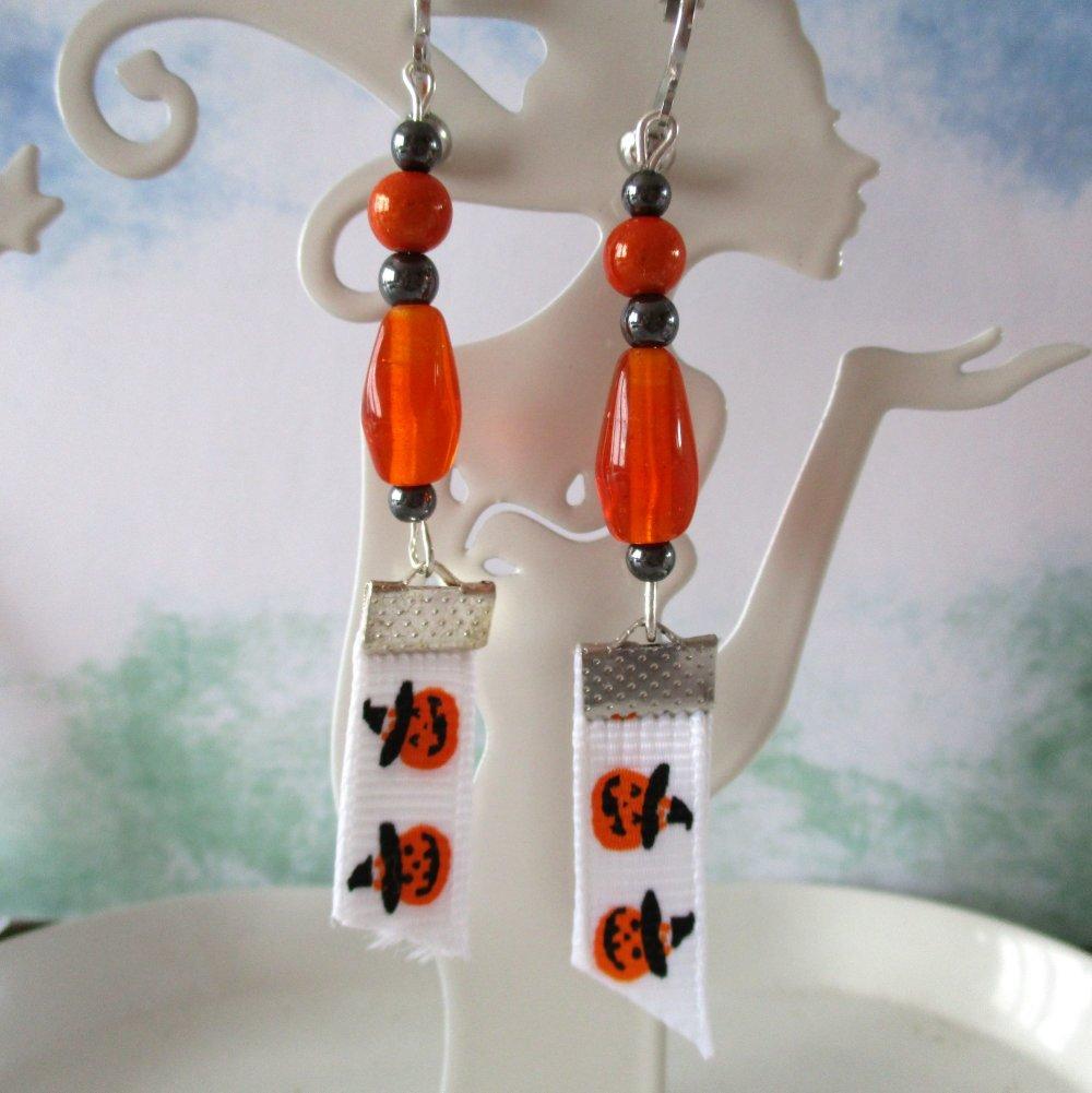 Clips boucles d'oreilles goutte orange et hématite, ruban citrouille- Halloween