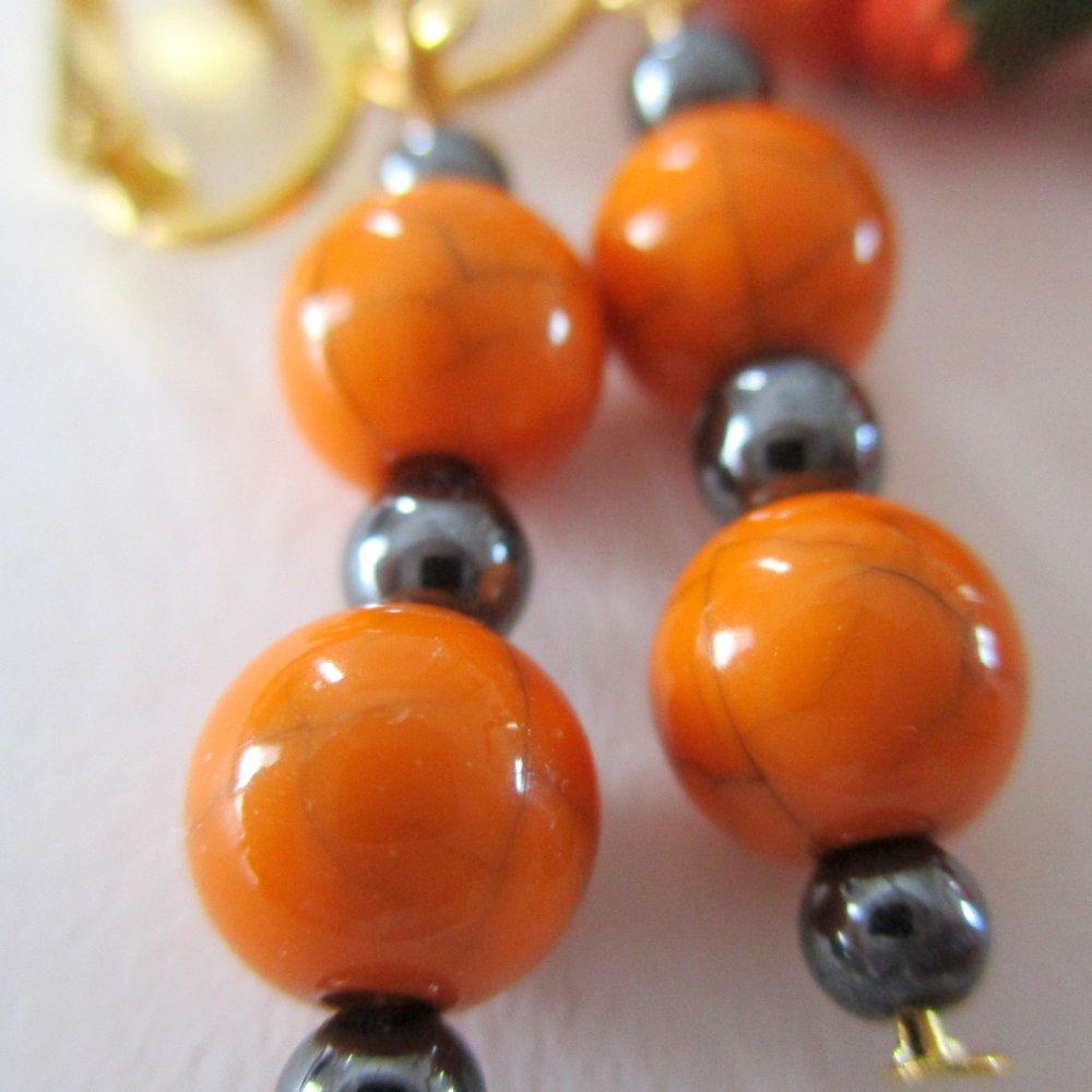 Clips boucles d'oreilles orange et hematite- Halloween