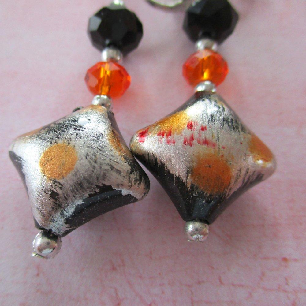 Clips boucles d'oreilles coussin noir et orange