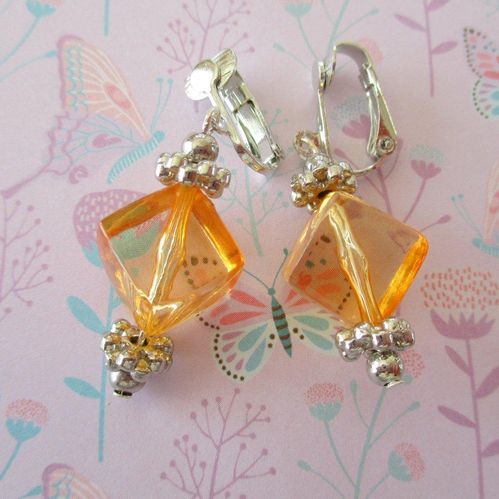 Clips boucles d'oreilles cubique orange