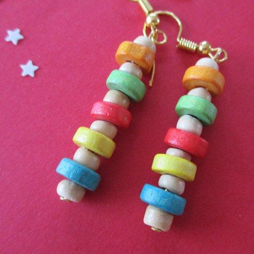 Boucles d'oreilles perles rondelles en bois multicolore - crochet en acier chirurgical